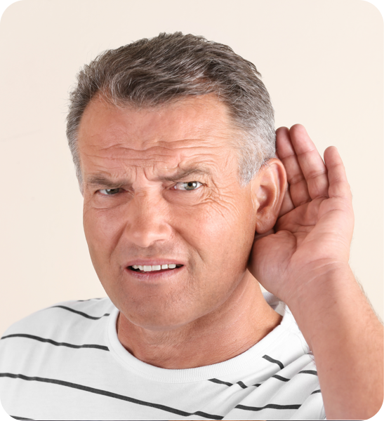 Male patient with hearing loss