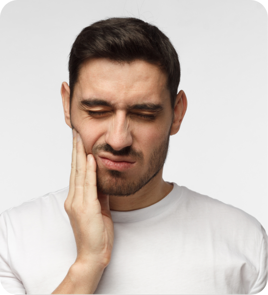 Man with mouth pain due to radiation damage